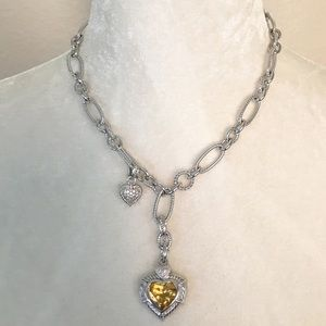 Judith Ripka Sterling 925 Citrine Heart Necklace